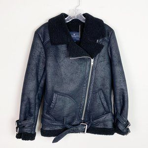 American Eagle | leather shearling biker jacket S
